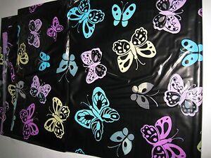 Cosmo Chic PEVA Vinyl Black Butterflies Purple Yellow Aqua Shower Curtain NEW