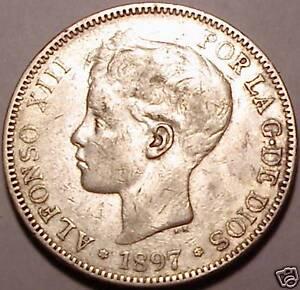 1897(97)SG-V SPAIN RARE 5 PESETAS~WE HAVE RARE COINS