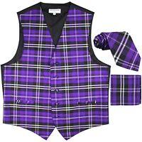 New Men's Plaid Tuxedo Vest Waistcoat & Necktie Set Purple Wedding formal prom