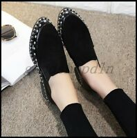 British Fashion Womens Pointy Toe Rivet Punk Shoes Slip On Casual Flats Loafers