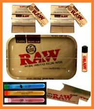 Raw Metal Tray King Size Rolling Paper with Filter Tips + 3 Doob Tubes + Lighter