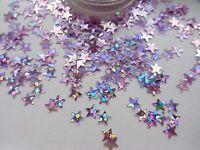 Nail Art Sparkle Pink Silver Holographic *Stars* Pot Spangle Glitter Decoration