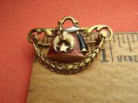 TEXAS ESTATE ANTIQUE MASON SHRINER 4.2 g TW 14K GOLD ENAMEL BROOCH PIN LOT 8033