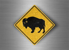 Autocollant sticker laptop macbook panneau route attention bison buffalo