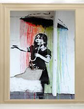 Banksy Art Painting Original print Graffiti Street poster Wall Decor Canvas Rain