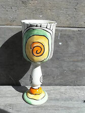 Weinkelch Weinglas Wasserglas  Keramik Handarbeit in retro