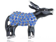 Capri Blue Crystal Rhinestone Democrat Black Enamel Donkey Symbol Pin Brooch New