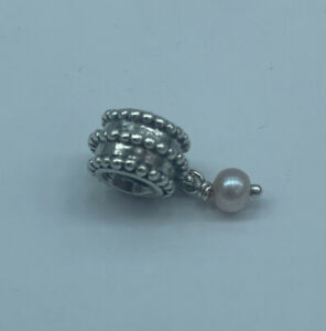 Authentic Pandora Sterling Silver Beveled Pearl 790132P Retired Charm - #27