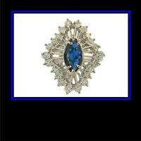 14K Solid White Gold Sapphire & Diamond Dinner Ring