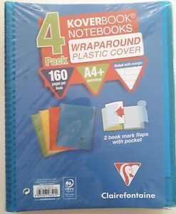 Clairefontaine Wraparound Plastic Cover A4 Notebooks (4 Pack)