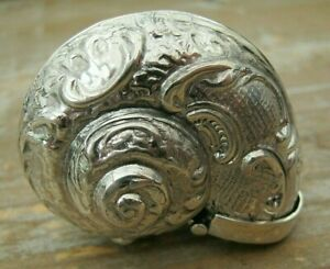 Beautiful Hallmarked Sterling Silver Nautilus Conch Shell Vesta Case / Snuff Box