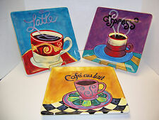 "Certified International Ronda Ahrens 3 Square Coffee Dinner Plates 11"" Platters"