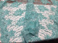 Luxurious super Beaded Pearls Mesh Lace Fabric Bridal Wedding flower aqua.