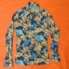 Vintage 70's Scene III 3 By Da Vinci Poly Nylon Shirt Mens Size M DISCO Floral