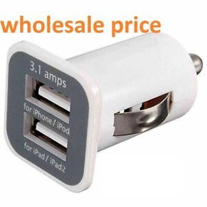 Wholesale LOT PACK Twin Mobile USB Port Charger 3.1 Amp USAMS CAR ADOPTER UK
