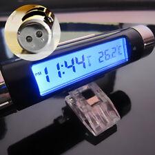 Car Vent Clock Thermometer Celsius Digital Display Blue LED Backlight For Benz