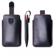 Custodia in vera pelle per Sony Xperia Z Ultra Nero-Rosso CON STRAPPO