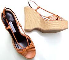L´AUTRE CHOSE Italy Made Luxus Damen Leder Keil Wedge Plateau Sandale in Gr 38.5