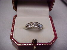 DIAMOND WEDDING RINGS SOLITAIRE WITH DIAMOND RING GUARD 3/4 CARAT 14K W/GOLD SZ5