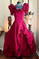 VTG NOS MORI LEE Ruffled Dress VICTORIAN Southern Belle GOWN Hi Slit Masquerade