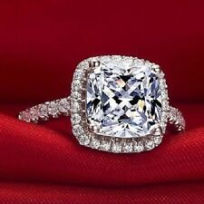 2.55CT VVS1 Cushion Cut Solitaire Diamond Halo Engagement Ring White Gold Over