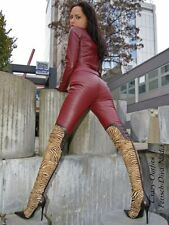 Lederhose Leder Hose Knalleng Burgunder Verschluß hinten Maßanfertigung