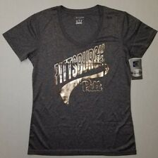 PITTSBURGH PANTHERS WOMENS T SHIRT CHAMPION V-NECK REFLECTIVE GOLD LARGE NEW 1D