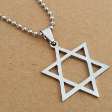 Titanium Steel Hexagram Pendant Star of David Necklace Silver Plated Chain