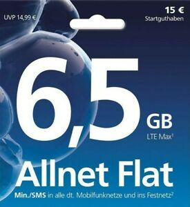 "6,5GB Internet Flat+Allnet & SMS Flat + O2 Prepaid""kein Vertrag""BLITZ VERSAND"""