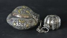 Srilankan Silver & Gilded Beetle Nut or Siri boxes connected with 3 small chains