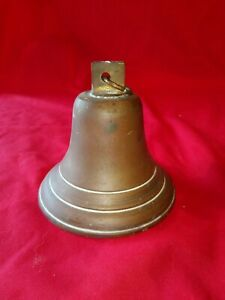 """OLD Vintage BRASS BELL SHIPS BELL SCHOOL HOUSE ? 5"""" DIAM NO CLANGER ANTIQUE ?"""