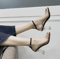 Fashion Womens Summer Buckle Transparent High Heels Pumps Clear Shoes Sandals