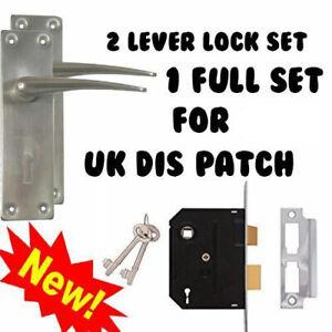 2 LEVER LOCK DOOR HANDLES KEYED FULL SET PACK + 2 KEYS UK STOCK