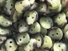 "50 Faux Horn Buttons Khaki Marble Shade 13/mm 1/2"" 2hole"
