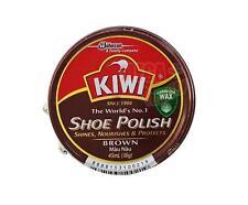KIWI Shoe Boot Polish Wax Glossy Shines Nourishes Protects # BROWN Color 45 ml.