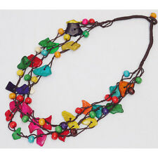 Handmade Women Girls Wooden Colorful Coconut Shell Necklace