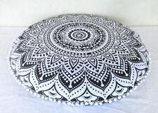 "Indian Mandala Round Floor Cushion Cover 32"" Boho Meditation Pouf Pillow Case"