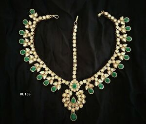 Indian Fashion Passa Head Piece Kundan Wedding Pearl Hair Damini Maang Tikka Set