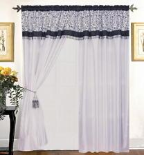 Satin Flocked Black White Window Curtain Panels Liner Tassel AT LINEN PLUS
