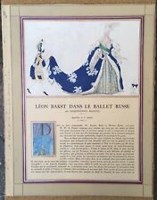 Article Léon Bakst dans le Ballet Russe Jacques-Emile Blanche Illustration 1927