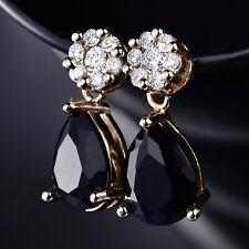 Dangle Pear Black Onyx Flower Crystal 18K Gold Filled Women Lady Stud Earrings