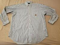 Mens Polo Ralph Lauren Dress Shirt L Large Green Stripes Button Cotton