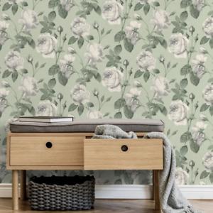 Eden Sage Green Rose Floral Wallpaper by Crown M1648
