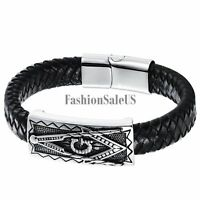 Men Vintage Leather Weave Stainless Steel Masonic Magnetic Buckle Charm Bracelet
