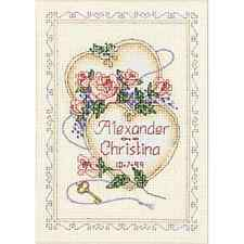 Counted Cross Stitch Wedding Record United Hearts and Roses