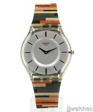 New Swatch Classic Skin PATCHWORK Multi-Color Women Watch 35mm SFM133 $110