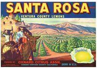 25X WHOLESALE LOT NOS SANTA ROSA CRATE LABEL OXNARD VINTAGE MISSION ORIGINAL 30S