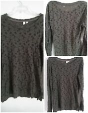Anthropologie Eloise Floral Top Gray Large Semi Sheer Long Sleeve Stretch