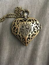 Vintage Bronze Heart Quartz Pendant Pocket Watch Retro Necklace Hollow Steampunk