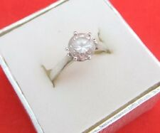 British Hallmarked 925 Sterling Silver Round Cut Cubic Zirconia Solitaire Ring